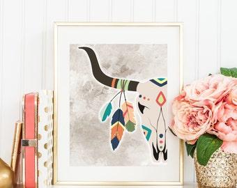 Printable Deer skull, Antlers art, Printable Boho art, vintage deer art, Bright colors, Rainbow Boho art, Shabby chic art, Deer art