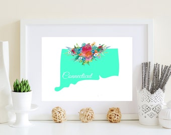 CT wall art, Connecticut art, flower ct art, ct state poster, download state art, state instant file, aqua state art, teal state art