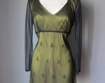 Vintage 1960's Green Lace Mini Dress