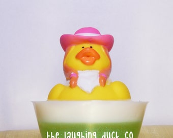 Rubber Ducky Cowgirl Soap, Cotton Candy, Shea Butter Glycerin Soap, Laughing Duck, Toddler Gift Idea, Christmas Toy, Stocking Stuffer