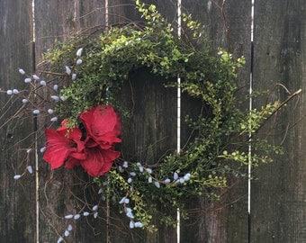 Front Door Wreath Valentine's Day Wreath Holiday Decor Farmhouse Wreath Everyday Wreath Winter Wreath Outdoor Wreath Amaryllis Wreath Shabby