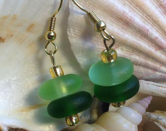 Green Seaglass with golden glass bead