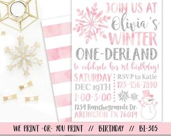Onederland Invitation, Pink Silver Onederland Birthday Invitation, Winter 1st Birthday Invitation, Onederland Party, Winter Onederland