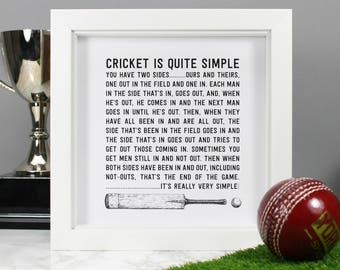 Cricket Gift Funny Quote - Christmas Gift for him - 'Cricket is Simple' Black and White Art - Gifts for Cricketer - Cricket bat -Fathers Day
