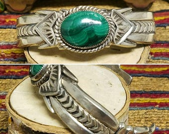 Beautiful Malachite and sterling silver Navajo bracelet
