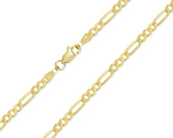 """14K Solid Yellow Gold Classic Figaro Choker Necklace Chain 3.2mm 11-15"""" - Polished Link"""