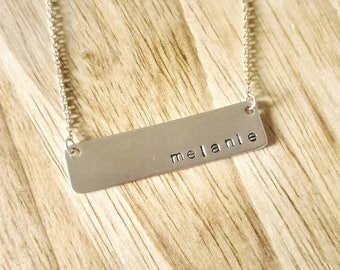 Hand stamped name bar necklace / Personalized gift / Gift for Mom / For Her / Sterling Silver
