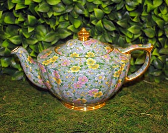 Sadler Blue Chintz Teapot