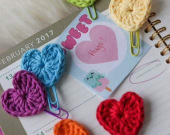 Crochet Hearts of 6 (paper clips, book marks)