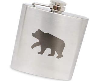 Brown Bear 6 Oz Flask, Stainless Steel Body, Handmade In Usa