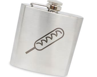 Corndog 6 Oz Flask, Stainless Steel Body, Handmade In Usa