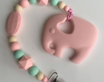 Pink elephant clip, elephant binky, pacifier clip, baby shower gift