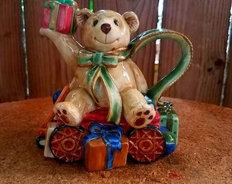 Fitz and Floyd Teddy Bear Old fashioned Christmas Creamer