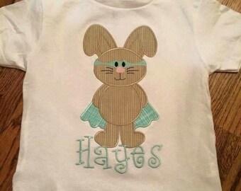 Masked Easter bunny applique shirt
