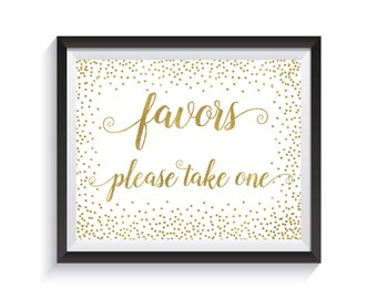 Favors Sign Printable, Wedding Favor sign, Gold confetti Wedding Reception décor, Bridal Shower, Baby Shower, Anniversary, Engagement party