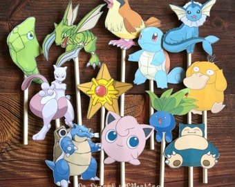 POKEMON 2 Cupcake Toppers / Cake Toppers / Die Cuts / Birthday Party / Decorations / Cake Pops / Supplies / Decor / Fast Shipping