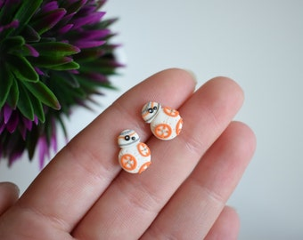Fimo handmade earrings inspired by BB8 Star Wars