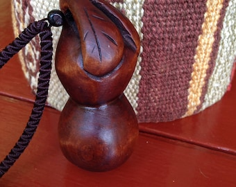 Peach Wood Carved gourd Necklace Pendant