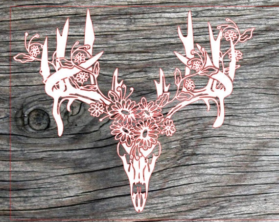 Boho Deer Skull With Flowers Gypsy Decal Jeep Decal Truck