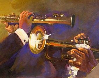 Jazz Players By O'veron,Canvas Art,Giclee,Jazz,Music. (10x30),(20x60)