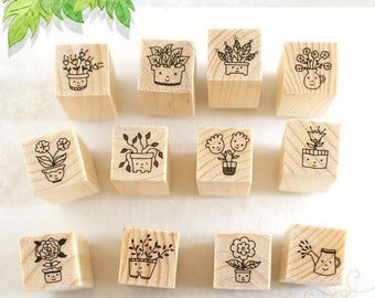 Wooden stamps flowers who laugh/smile flowers 12 pieces