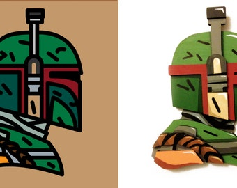 Boba Fett - Wood Sculpture