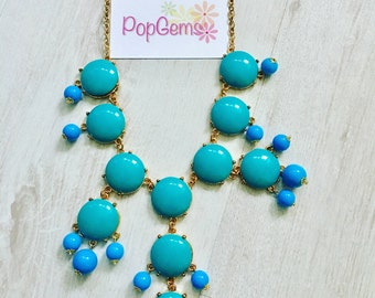 Blue and gold bead statement fashion festival necklace