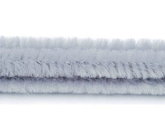 """25, 6mm, Gray Chenille Stems< Pipe Cleaners, 12"""" Long"""