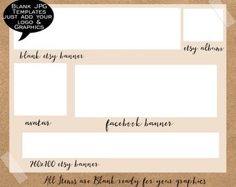 Blank Template, DIY branding templates, DIY etsy banner, logo templates, facebook banner, business cards, twitter banner, etsy shop graphics