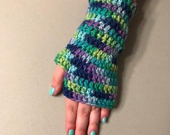 Aqua Theme Fingerless Gloves Handmade Crochet