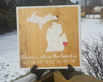 "Home is Where the Heart Is customized state wood sign 9"" x 9"""