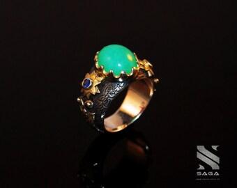 ARTEMIS RING 1.2 / Chrysoprase & Sapphire / 18k Gold / Silver Ring / Gem / Osiris / Statement Ring / Vintage Art Deco Renaissance / Women