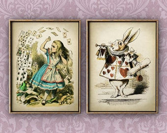 Alice in Wonderland print SET of 2, Alice in Wonderland poster, children illustration wall decor, fantasy rabbit print, children room decor