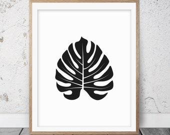 Minimalist art, Black and white art, Leaf art, Leaf print, Leaf printable, Tropical leaf, Printable wall art, Black white print, Modern, 073