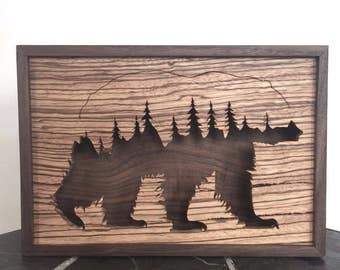 Grizzly Bear with Forest, Trees, Shadow Box, Wall Art, Wood Art, Scroll Saw, Hardwood, Zebrawood, Walnut, Animal, Fine Woodworking