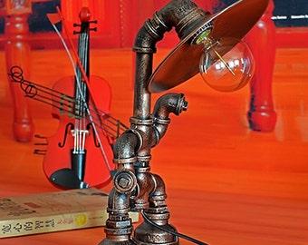 Creative Iron Pipe Table Lamp