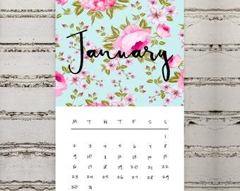 Mini Desk 2017 Calendar | Printable | 2017 | Calendar | Mini | Desk | Digital | Floral | Pretty | Colourful | Desk Calendar