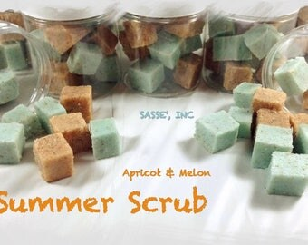 Invigorating Apricot & Melon Sugar Body Scrub / Sugar Scrub Cubes / REAL Apricots / 4oz