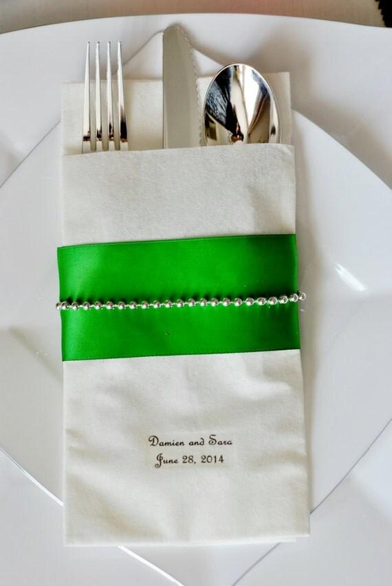 String of Pearls Linen-Like Wedding Napkin