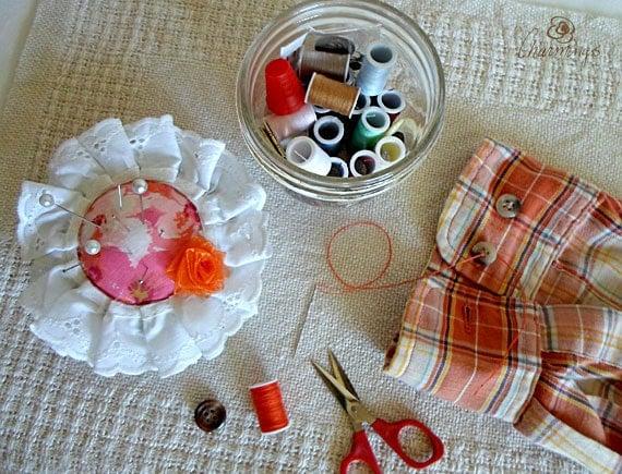 Sewing Kits & Pincushion Flower, Mason Jar Sewing Kit with Gift Wrap and Card, Burlap Retro Denim or Eyelet Sewing Kit Flowers, College Gift