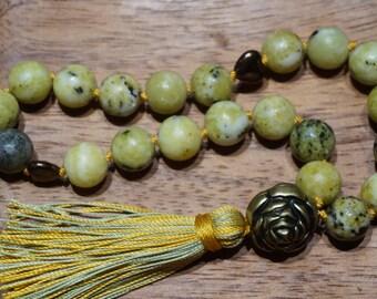 Natural Yellow Fire Jade,21 bead mala,silk,silk assel