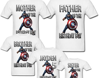 Personalized Captain America Birthday shirt for Family