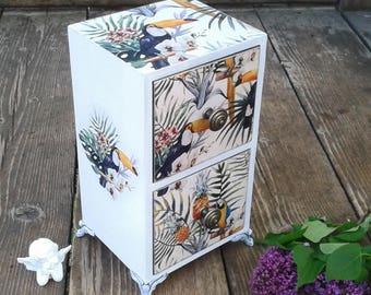 Mini chest of drawers, Jewelery box, Jewelery organizer, Mini armoire, Wooden trinket box, Birds and flowers armoire, Mini drawers