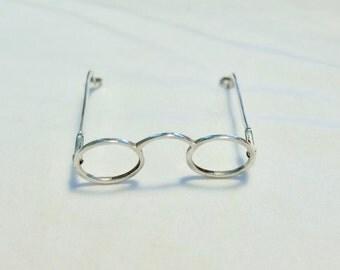Vintage 1970s eyeglass pendants, sterling silver