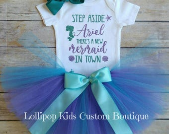 Step aside Ariel There's a new mermaid in town white short sleeve top and/or tutu *vinyl* (hairbow not included)