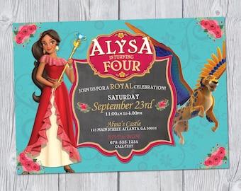 Elena of Avalor Invitation 6x4, Elena of Avalor Birthday Invitation, Elena of Avalor Party, Printable Digital Invitation, Princess Elena