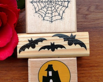 Halloween Rubber Stamps Set of 3, Bats, Spider Web, Spooky House, Recollections, Katie & Co, JRL Design