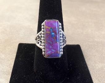 Elaborate Purple Turquoise Ring 1274