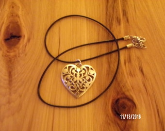 N300 Leather Corded Heart Pendent