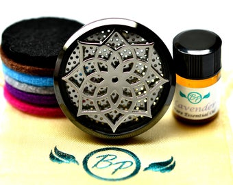 Essential Oil Car Diffuser Accessory // Black Lotus Stainless Steel 38MM // With 6 Thick Wool Diffusers / & Choice of 2ML Essential Oil
